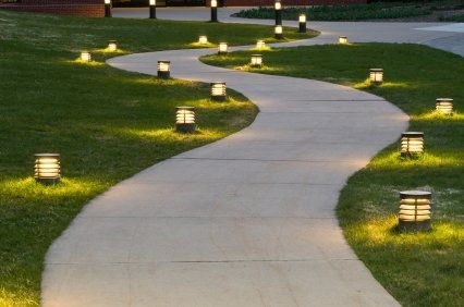 Outdoor lighting illuminating a pathway to a residence in Albany.